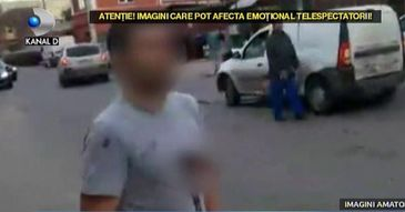 Scene socante la Popesti - Leordeni! Un barbat s-a plimbat minute in sir pe strada cu o rana pe care si-a facut-o in piept din gelozie