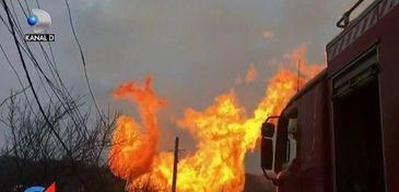 Explozie puternica la o conducta din Gorj, urmata de un incendiu! 5 persoane au fost ranite, 8 masini arse, iar cladirea Transgaz distrusa
