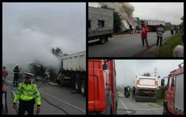Accident teribil in Maramures! Un sofer a ars de viu, dupa ce microbuzul pe care il conducea a fost izbit din plin de un TIR