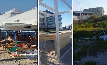 Cum fac turistii plaja printre gunoaie si alte capcane, in plin santier, in noua zona de fite a statiunii Mamaia!
