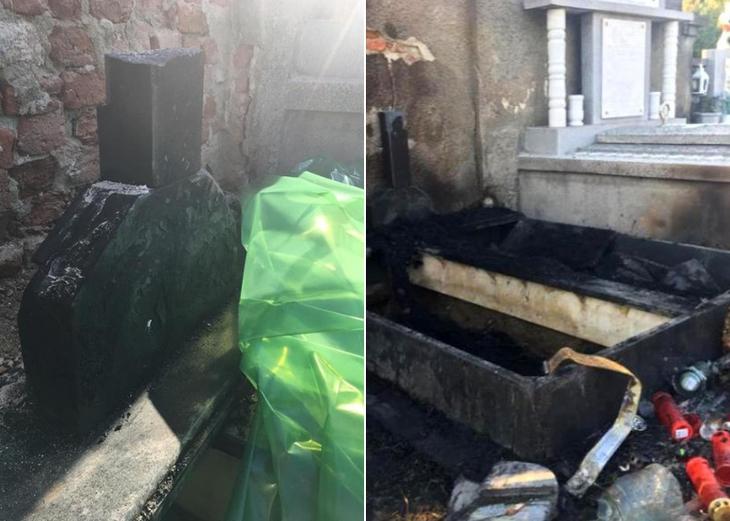 Mormantul unui fost primar, distrus de incendiu. Familia este de parere ca focul a fost pus intentionat