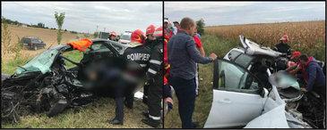 Primele imagini de la accidentul din Vrancea, produs in urma cu putin timp. Mai multi morti si raniti dupa un impact teribil