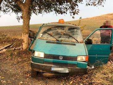 Un bărbat a murit şi două persoane au fost rănite, autoutilitara în care se aflau intrând într-un copac
