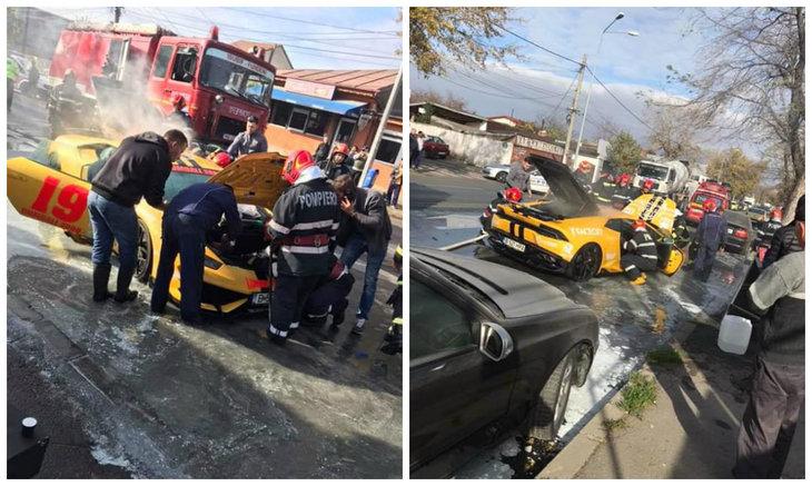 Panică în trafic pe şoseaua Andronache din Bucureşti! Un Lamborghini a luat foc în mers! Cine era la volanul acestei maşini de fiţe? Bine că a scăpat cu viaţă