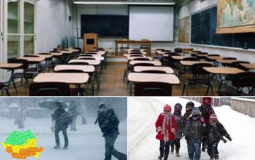 Primele şcoli închise. Cursuri suspendate azi şi mâine