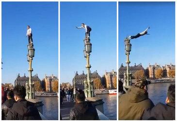 VIDEO Scene halucinante la Londra! Un român care s-a aruncat în apa Tamisei a fost aplaudat de englezi, care au crezut că totul face parte dintr-un spectacol de stradă