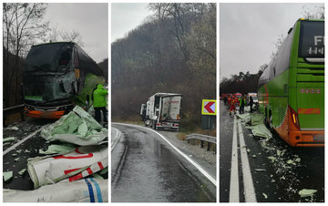 Accident GRAV pe DN1 după ce un TIR a intrat într-un autocar plin cu pasageri! Traficul e complet blocat!