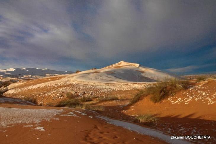 A nins in Sahara, pentru a treia oara in ultimele patru decenii! Zapada s-a depus peste dune