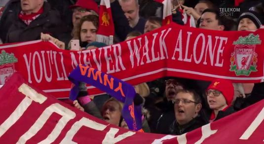 "VIDEO | MONUMENTAL! Imnul Champions League nu s-a auzit! ""You'll never walk alone"" cântat la unison din zeci de mii de piepturi"