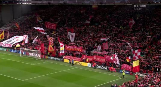 "VIDEO | Atmosferă fabuloasă pe Anfield Road. S-a cutremurat stadionul la ""You'll never walk alone"""